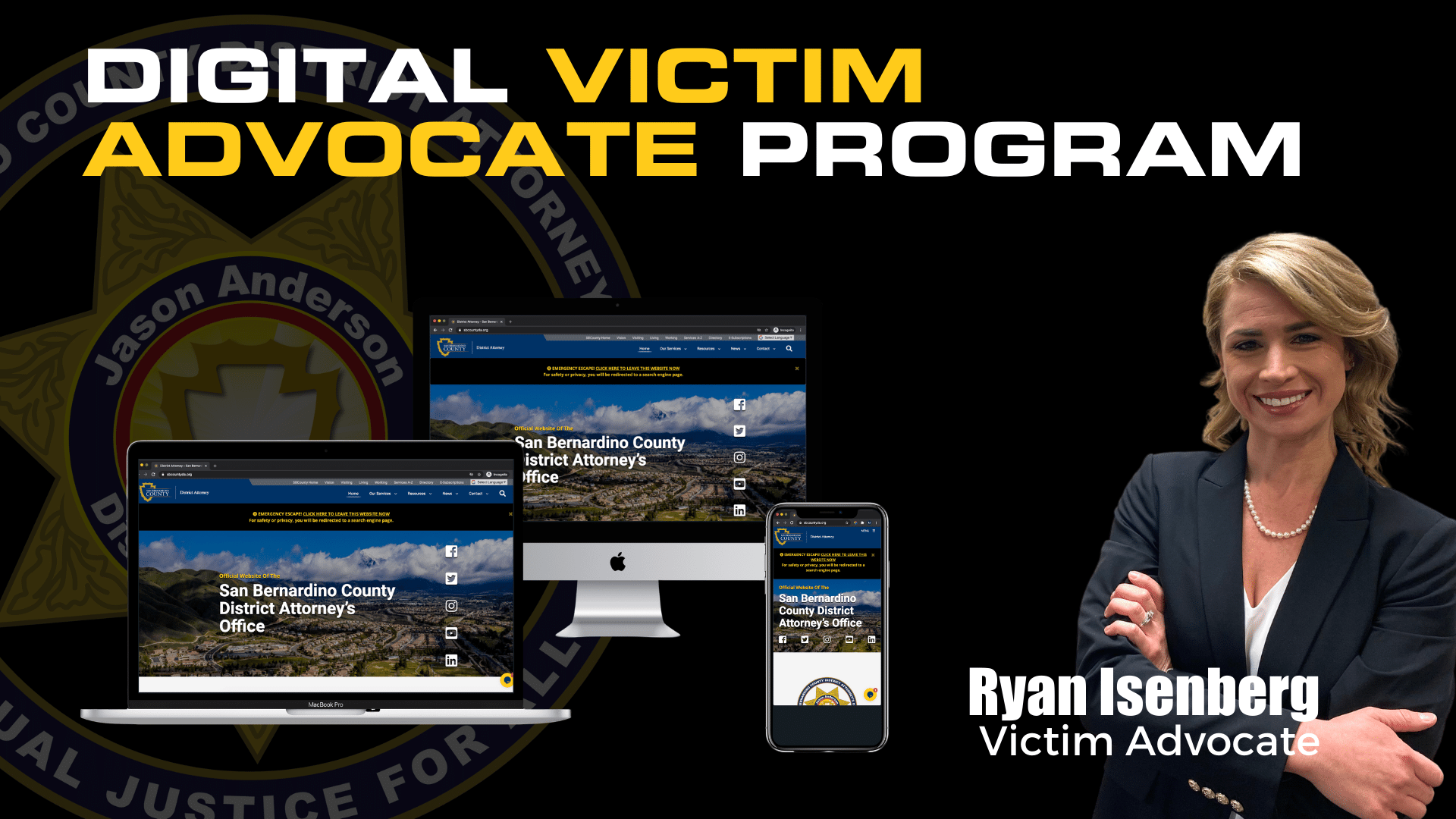 Advertisement for the digital victim advocate program