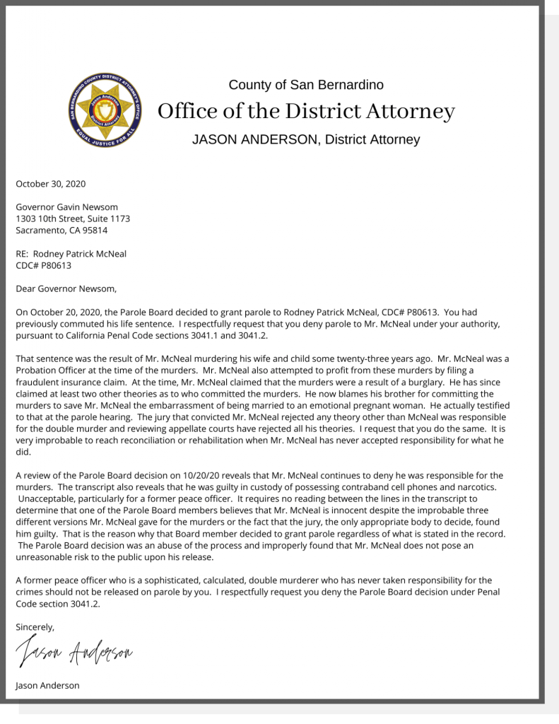 Letter from District Attorney Anderson to Governor Newsom