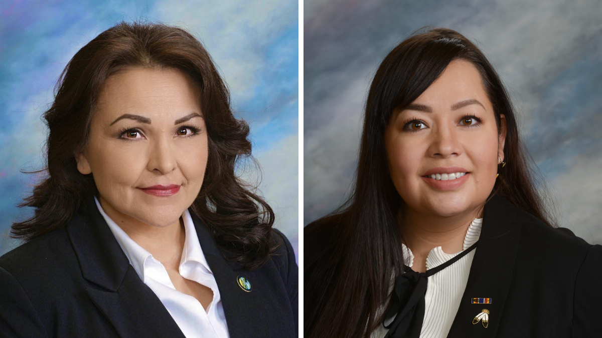 South Dakota House of Representatives Member Tamara St. John (left) and Member Peri Pourier