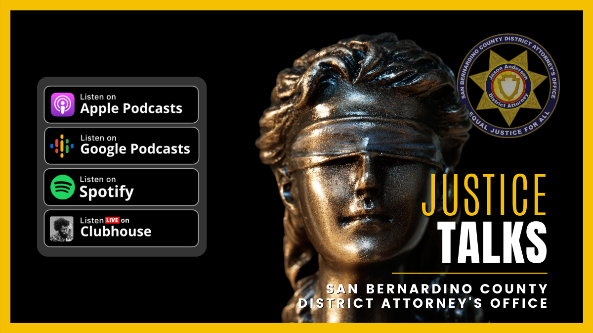 Graphic for Justice Talks podcast and video show