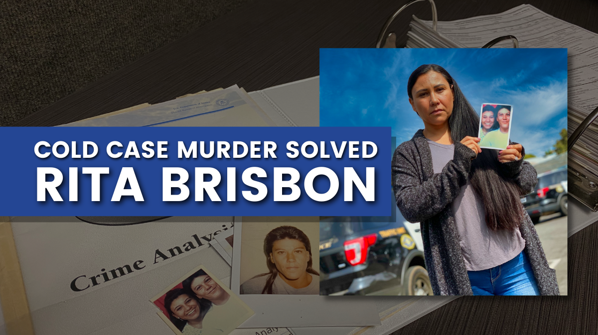 Blog graphic showing Rita Brisbon's case file and her sister, Rose Miller, holding a picture of both of them.